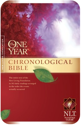 "The cover of the ""One Year Chronological Bible (NLT) published by Tyndale House Publishers, Inc. Carol Stream, Illinois, USA."